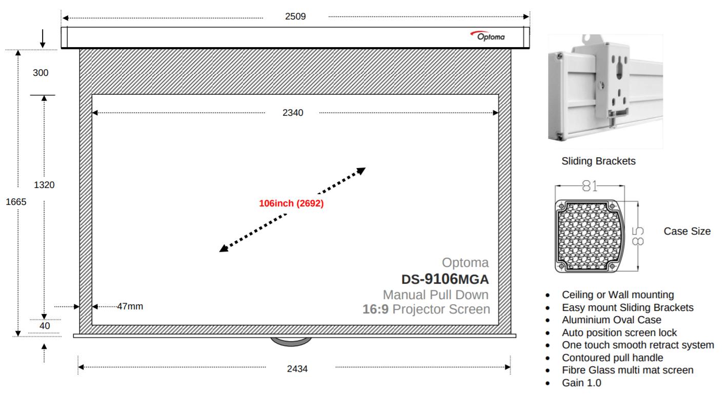Optoma DS-9106MGA tekening met afmetingen